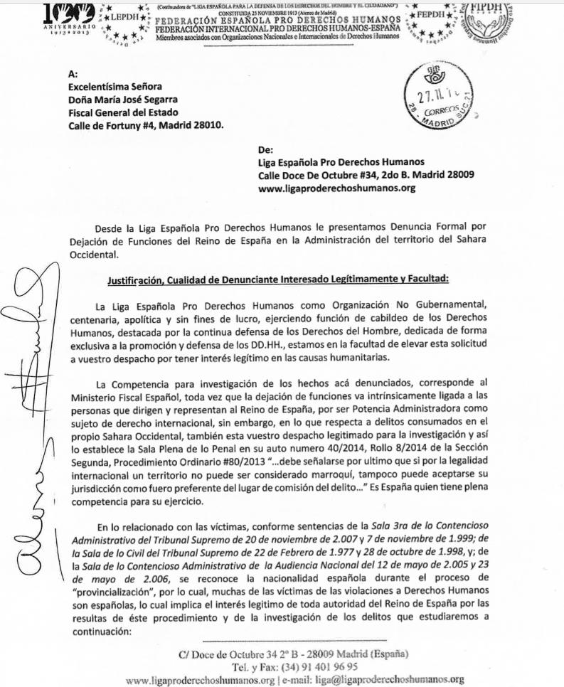 Denuncia ante Fiscalia General del Estado en caso de Sahara Occidental